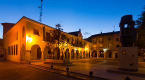 Town square at  spanish town in night.  Utrillas Royalty Free Stock Photos