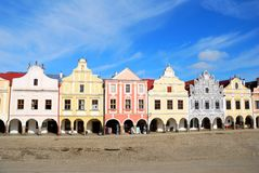 Town square in Telc. Town square inf Telc with renaissance and baroque colorful houses Royalty Free Stock Photo