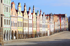 Town square in Telc. With renaissance and baroque colorful houses Royalty Free Stock Photo
