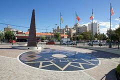 Town square in Trelew, a town in Chubut Province of Patagonia in Argentina. The city is the largest and most populouse in the low valley of Chubut River stock photos