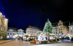 Town square view with Christmas market royalty free stock photography