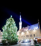 Town square view shortly before Christmas vertical Royalty Free Stock Photography