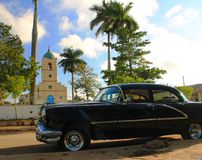 Town square Vinales with old american car Stock Photos