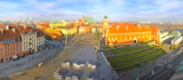Town Square in Warsaw (Tilt-shift effect) Royalty Free Stock Photo