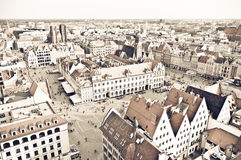 Town square of Wroclaw in vintage style, Poland Royalty Free Stock Photography
