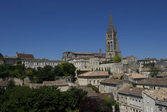 Town of St. Emilion. The town of St. Emilion with the main church dominating the skyline stock images