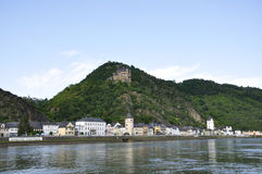 Town of St. Goarshausen and Katz Castle Royalty Free Stock Photos