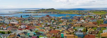 Town of St-Pierre. Panoramic view of the town of St-Pierre, St-Pierre et Miquelon, France, North America Royalty Free Stock Photos