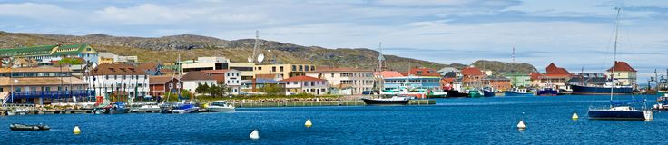 Town of St-Pierre. Panoramic view of the town of St-Pierre, St-Pierre et Miquelon, France, North America Stock Photography