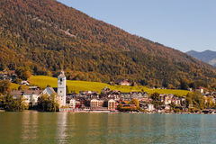 Town St. Wolfgang on Wolfgangsee lake in Austria Stock Photography