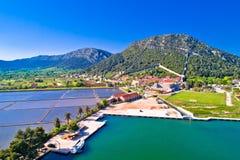 Town of Ston bay and salt fields aerial view. Peljesac peninsula, Dalmatia region of Croatia Royalty Free Stock Image