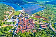 Town of Ston bay and salt fields aerial view. Peljesac peninsula, Dalmatia region of Croatia Royalty Free Stock Images