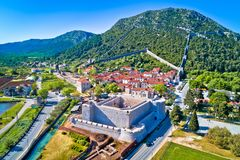 Town of Ston and historic walls aerial view. Peljesac peninsula, Dalmatia region of Croatia Stock Photos
