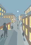 Town street. Vector illustration of a small town neighborhood in the evening with people walking on the streets Royalty Free Stock Photography