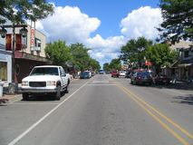 Town Street. A street in the small town of East Tawas in northern Michigan Stock Photos
