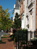 Town Street, Alexandria. View of a old town Alexandria, VA street with family homes, old style houses Royalty Free Stock Photo