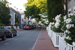 Town street at Edgartown. Paved street at Edgartown, Martha's Vinyard, in the evening Stock Photography
