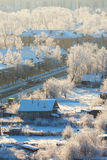 Town street with frozen trees Stock Photos