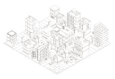 Town street Intersection road. Buildings Isometric top view. Gray lines outline contour style. royalty free stock photography