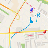 Town street plan. City map and red, blue pin icons vector illustration. Street map and direction. Highlighted route in road map royalty free illustration