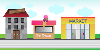 Town street. Street of a small town with the public school, ice cream shop and market. Cartoon illustration - eps format is available Royalty Free Stock Photography