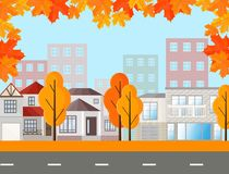 Town street view, buildings in autumn season. Vector Mapple leaves background. City Town street view, buildings in autumn season. Vector Mapple leaves background Stock Photography