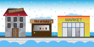 Town street in the winter. Snowy street of a small town in winter with the public school, kiosk with hot drinks and market. Cartoon illustration - eps format is Royalty Free Stock Images
