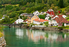 Town Stryn on river bank Stock Photography