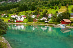 Town Stryn on river bank Royalty Free Stock Photography