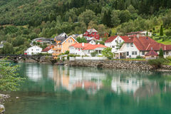 Town Stryn on river bank Stock Photo