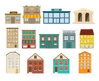 Town and suburban buildings icons on white background. Illustration Royalty Free Stock Photo