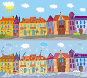 Town in summer and winter Royalty Free Stock Images