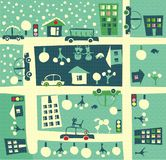 Town in summer and winter in vector Royalty Free Stock Photo