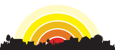Town sunrise Stock Photo