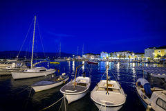 Town Supetar at night. Old town at Island of Brac - Supetar and it's harbor during night Stock Images