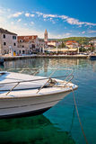 Town of Supetar turquoise waterfront. Vertical view, island of Brac, Dalmatia, Croatia Royalty Free Stock Image