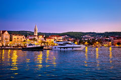 Town of Supetar waterfront evening view Stock Images