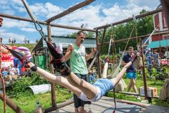 Healing on the ancient simulator 14.07.2018 in Suzdal, Vladimir stock image