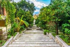 Town of Taormina, Orange trees royalty free stock photos