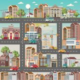 Town template with detailed roads, cars and cute houses. Industrial background. Day in the cute city. royalty free illustration