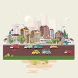 Town template with roads, cars and cute houses. Industrial background. Day in the cute city. royalty free illustration