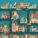 Town template with roads, cars and cute houses. Industrial background. Night in the cute city. royalty free illustration