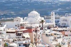 Town of Thira, Santorini, Greece stock images