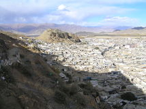Town in Tibet. Little town in Tibet on the foot of a hill Stock Photography