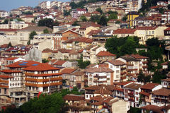 Town in tiers. City houses rising in tiers Royalty Free Stock Images