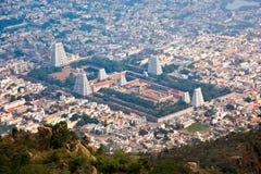 Town Tiruvannamalai, Tamil Nadu, India. Town Thiruvannamalai with Arulmigu Arunachaleswarar Temple, Tamil Nadu, India. Aerial view Royalty Free Stock Photo