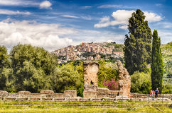 The Town of Tivoli as seen from Villa Adriana Stock Images