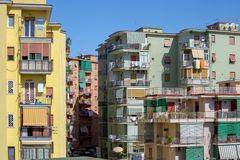 View of a neighborhood with colorful buildings of Torre del Greco in Italy royalty free stock photos