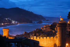 Town of Tossa de Mar by Night on Costa Brava Royalty Free Stock Image