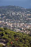 Town of Toulon and the cable Faro. City of Toulon and the cable Faro in french rivera, France Royalty Free Stock Photography